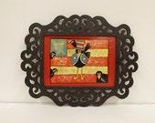 Americana Crow, Patriotic Crow, Americana Folk Art, Framed Crow Art, Americana Flag, Scroll Frame Art
