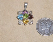 Vintage Sterling Silver Semi Precious Gem Stone Charm Or Pendant 1970's Signed Jewelry 2065