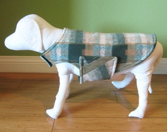 XS Fleece Dog Coat, Extra Small Green, Tan, and Ivory Plaid Jacket with Forest Green Fleece Lining