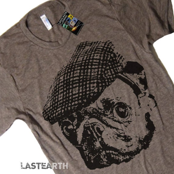 Pug in a Vintage Newsboy Cap T Shirt - American Apparel Tshirt - S M L XL 2X (15 Color Options)