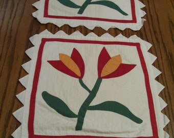 Vintage Tulip Pillow Covers Quilted Set of 2