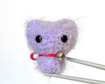 Crochet Amigurumi pastel purple MoMoMi MochiQtie -- mini size crochet amigurumi stuffed toy doll