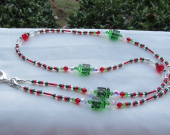 Christmas ID Badge Bead Lanyard Necklace Red and Green Christmas Presents