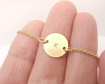 Gold Initial Necklace, Custom Personalized Monogram Circle Necklace - for Her, Anniversary Wedding Bridesmaid Gift, Delicate Fine Jewelry