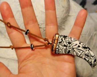 Festival Tusk long necklace skull pattern Black White Brown Gold Coco Star