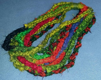 Recycled Sari Silk Infinity Scarf Necklace, fair trade, shades of green