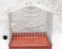 Vintage Reliance Bird Cage White Red Japan