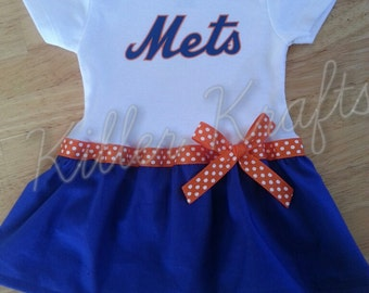 New York Mets inspired baby girl outfit