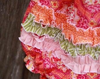 Shocking Pink Sorbet  Baby Bubble with Detachable Orange Flower & Halter Back