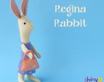Regina Rabbit - Easter Bunny Felt Softie Pattern PDF