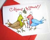Kissing Birdies Christmas Card - Christmas Love Card for Husband, Wife, Boyfriend, Girlfriend - Merry Kissmas