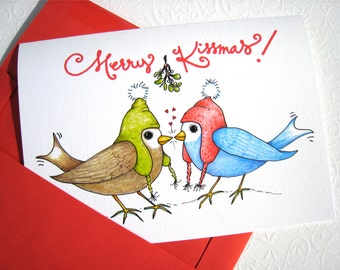 Merry Kissmas Christmas Card - Christmas Card for Husband - Christmas Card for Boyfriend - Christmas Love Birds