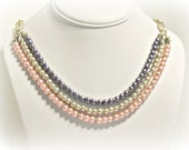 Pink, Ivory and Purple Layered Pearl Necklace - Statement Necklace - Wedding Jewelry - Mothers Day - Prom