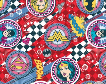 122000026 - Girl Power II - Ruby Badges Quilting Cotton Fabric - Sold by the yard