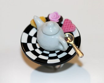 Tea Party Ring - Alice in Wonderland  Ring - Food Jewelry