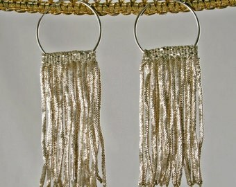 Antique French Silver Coil Fringe Hoop Earrings