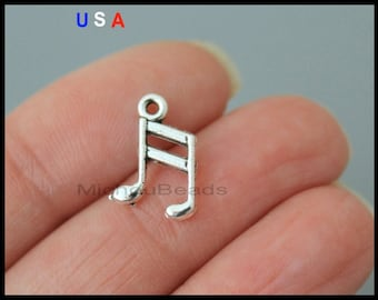 BULK 25 Silver MUSIC Note Charms - 12mm Music Note Metal Charm - Music Musician Charms - Instant Ship - USa Discount Charms - 6045