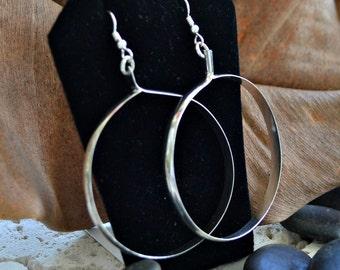 """Large sterling silver hoop earrings.  2 inch hoops and 4mm wide  """"Uptown Funk"""""""