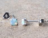 Genuine Opal studs- 3mm (October Birthstone)  earrings in Sterling Silver.