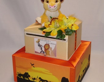 THE LION KING  theme card box for Baby Shower- any theme  can be made
