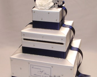 Winter Wonderland - White and Navy Blue-Snowflakes theme Wedding Card Box- any colors