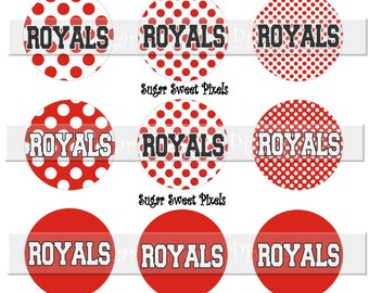 INSTANT DOWNLOAD Royals Red Polka Dot 1 inch circle School Mascot Bottle cap Images