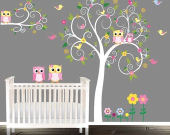 Floral tree owl decal, Nursery Wall Stickers, Owl tree Nursery Decals, baby owl wall decals
