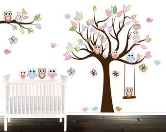 nursery tree, vinyl tree, owl wall decal, nursery decals, birds, butterflies, owls