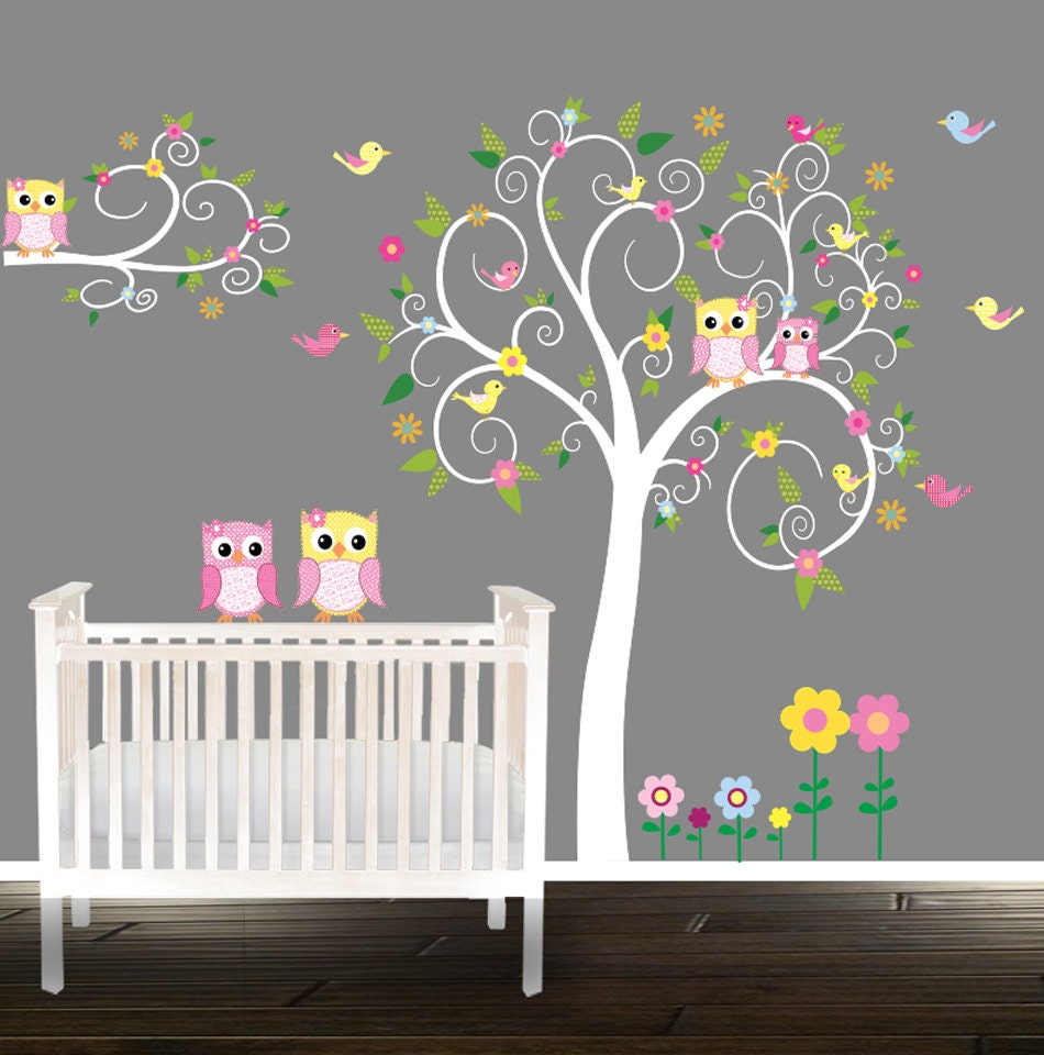 Floral tree owl decal nursery wall stickers owl tree nursery zoom amipublicfo Image collections