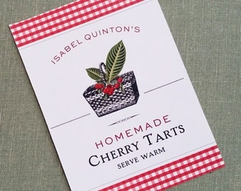 Cherry Sticker, Cherry canning, Jam Label, Preserves Sticker, set of 18