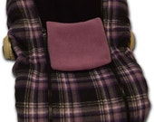 Purple Plaid NUZZLER, Infant Baby Car Seat Cover - Warm for Winter Polartec polar fleece - Choose inside color!