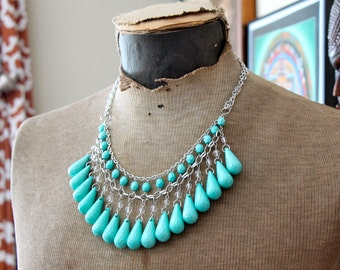 Turquoise and Silver Bubble Bib Statement Necklace