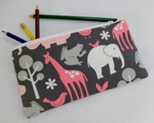 Zoology Bloom print Pencil Case/ Crayon Case/Makeup Bag/ Cosmetic Case/ Ready to Ship