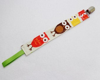Owl print Pacifier Clip. Universal Loop. Ready to Ship
