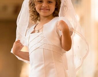 Girls First Communion Veil on Tiara