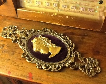 Vintage Brass Wall Hanging Neo Renaissance Cameo Lady's Face 1960s