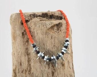 Orange Hemp necklace with washers and Lava