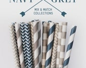 25 PAPER STRAW with free printable DIY Toppers - Navy & Grey Set