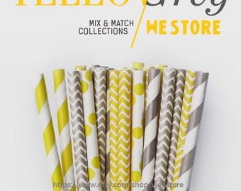 25 PAPER STRAW with free printable DIY Toppers - Yellow & Grey Set