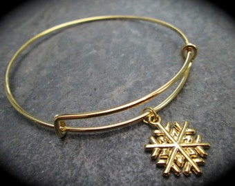 Gold or Silver Snowflake adjustable wire bangle bracelet Holiday Charm Gold finish Christmas bracelet
