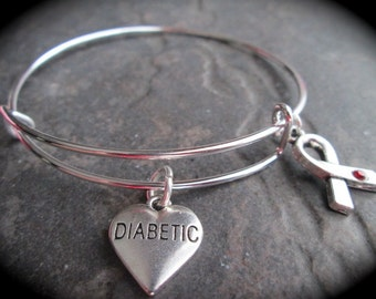 Diabetic Medical Alert Bracelet with heart and ribbon charms