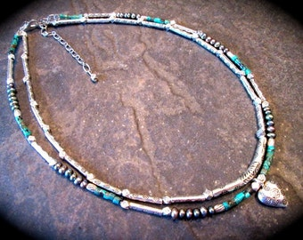 African Turquoise and freshwater pearl double strand necklace with Karen Hill Tribe beads and heart charm  gemstones