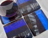 Over-sized Fused Glass Coasters set of 4 – After Midnight