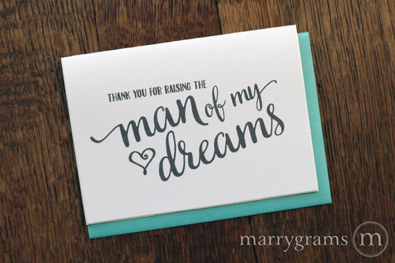 Future Mother In Law Gifts: Wedding Card To Your Future In-Laws Thank You For Raising