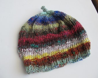 Multicolor Handknit Hat For Teens or Adults, Noro Yarn. One of a Kind