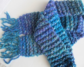 Handknit Scarf, Wool/Acrylic/Silver Metallic Yarns. One of a Kind, Ready to Ship.