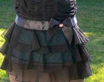 black sheer  skirt small open back