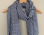 Gingham Blanket Scarf / Black and White / Gingham Plaid Long Scarf Flat Blanket