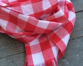 Gingham Plaid Long Scarf Traditional Cotton Flat Blanket / Gingham Blanket Scarf / Red White