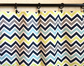 Lime Green Navy and Aqua Chevron Curtain Panels. 63, 84, 96, 108, 120 Lengths. Premier Prints Zig Zag Window Treat